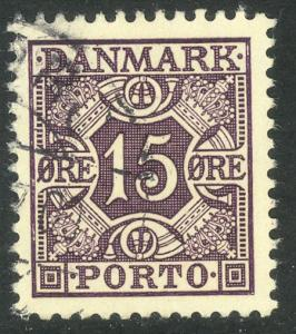 DENMARK 1934-55 15o Light Violet Lined Panel Postage Due Sc J32 VFU