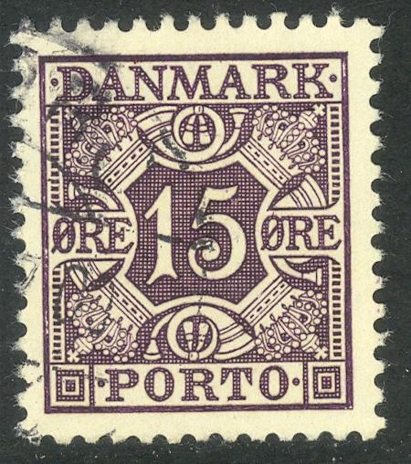 DENMARK 1934-55 15o Light Violet Lined Panel Postage Due Sc J32 VFU