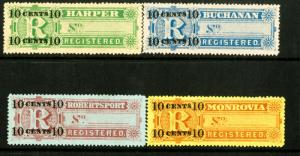 Liberia Stamps # F6-9 VF As Issued