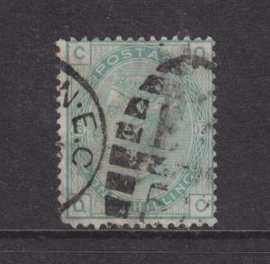 Great Britain Sc 64 used 1873-1880 1sh pale green Queen Victoria, Plate 13