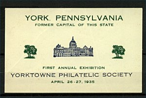 USA 1935 Yorktowne Philatelic Society Firs Annual Exhibition Label