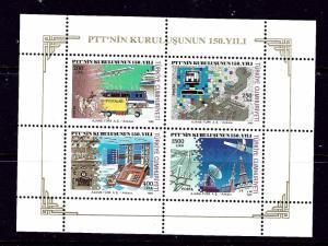 Turkey 2494a MNH 1990 Communications souvenir sheet