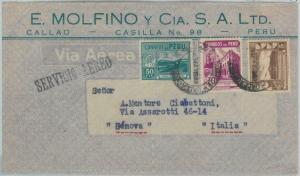 81698 - PERU - POSTAL HISTORY -   AIRMAIL  COVER to ITALY  1946