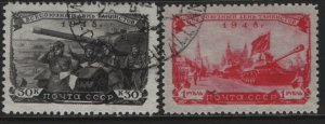 RUSSIA, 1258-1259, SET, USED, 1948, DAY OF THE TANKMEN
