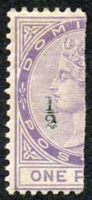 Dominica SG10 1882-83 1/2d in Black on half 1d Bisect (Type 2) M/M