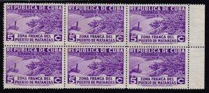 CUBA STAMP 1936 Airmail 5C PURPLE UNUSED NG BLK OF 6