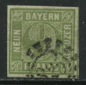 Bavaria 1853 9 kreuzer pale blue green used