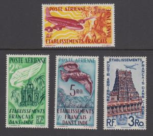 French India Sc C14-C16 MNH. 1949 Air Mail cplt, incl. unissued 3ro value