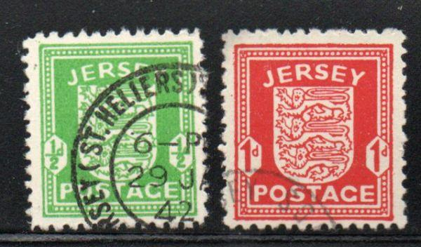 Jersey Sc N1-2 1941 German Occupation stamp set used