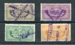 x168 - LATVIA 1920s Lot of (4) Railway REVENUE Stamps. Fiscal