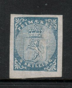 Norway #1 Extra Fine Mint Full Original Gum Lightly Hinged