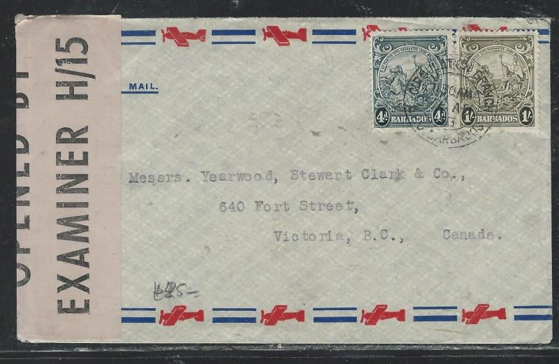 BARBADOS (P2706B) 1943  SEA HORSE 4D+1/-  ON CENSORED COVER TO CANADA