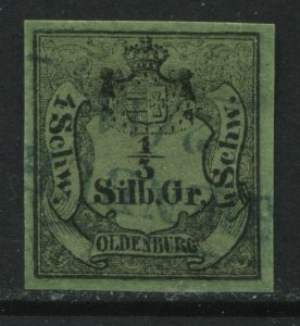 Oldenburg 1852 1/3 sg used SUPERB