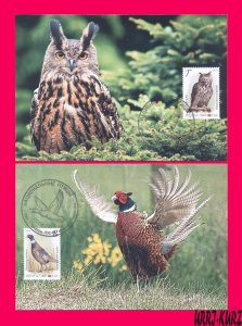 TRANSNISTRIA 2019 Europa CEPT theme Nature Fauna Birds Owl Pheasant 2 MaxiCards