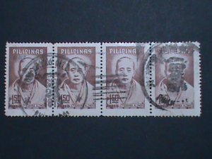PHILIPPINES STAMP-TEODORA ALONSO WITH COMPLETE CANCEL USED BLOCK OF 4-EST.-$4