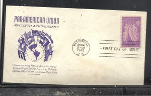 US #895 4 Pan American Union Grimsland cachet addressed fdc