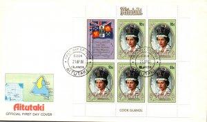 Aitutaki 393 Queen Elizabeth II Souvenir Sheet U/A FDC