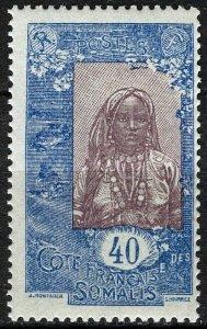 French Somali Coast 1915, 40c Somali Woman, VF MNH, Maury 92
