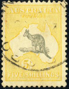 AUSTRALIA - 1932 - SG 135 5sh. grey & yellow watermark CofA - Very Fine Used