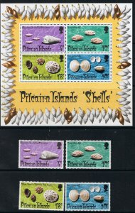 PITCAIRN ISLANDS 1974 SHELLS STAMPS & SOUVENIR SHEET
