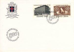 Iceland 1986 FDC Sc 626-27 National Bank centenary