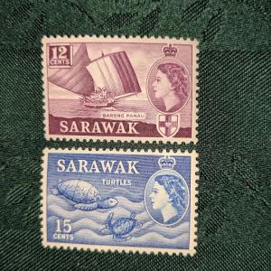 Sarawak 203-4 VF-XFNH, CV $6.00