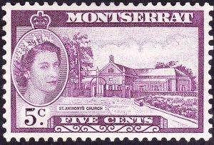 MONTSERRAT 1955 QEII 5c Reddish-Lilac SG141 MH