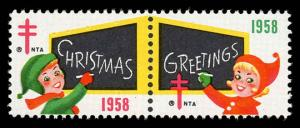 WX Christmas Seal Mint (NH) 1958 Pair