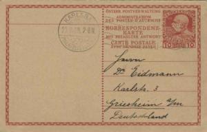 Austria 10h Franz Josef Attached Reply Postal Card 1909 Karlsbad, XXI. Philat...