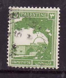 Palestine-Sc#64- id5-used 3m yellow green-1927-42-