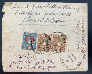 1922 Kaunas Lithuania Judaica cover To Denver Co Usa Back Stamps