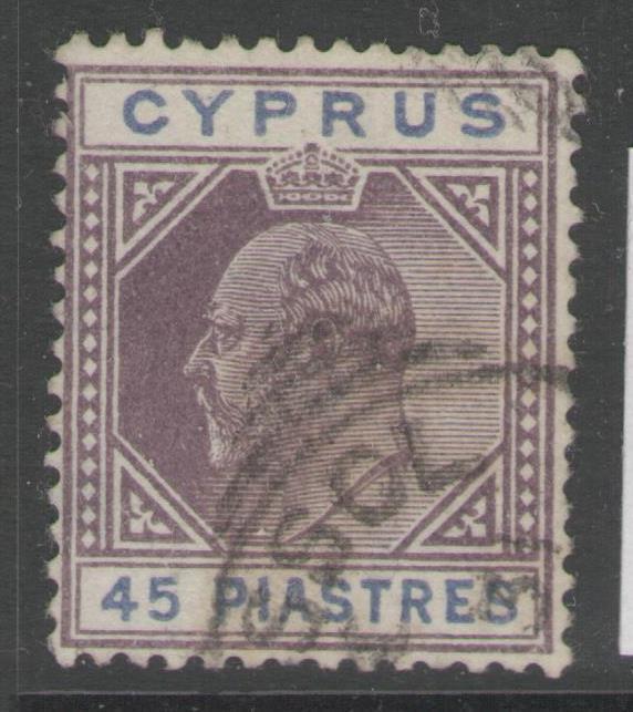 CYPRUS SG59 1903 45pi DULL PURPLE & ULTRAMARINE FINE USED