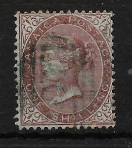 JAMAICA SG6c 1868 1/= DULL BROWN $ FOR S VAR USED