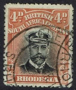 RHODESIA 1913 KGV ADMIRAL 4D DIE I PERF 15 USED