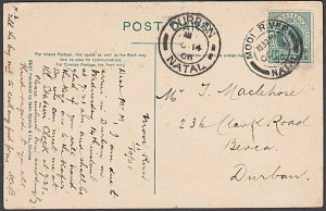 NATAL 1908 postcard used MOOI RIVER cds.....................................B443