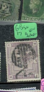 GREAT BRITAIN (P2312B) QV 2/6 SG 178 VFU ANTIQUE OVER 100 YEARS OLD