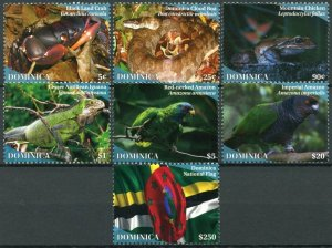 Dominica Birds on Stamps 2020 MNH Wildlife Parrots Crabs Snakes Frogs Flags