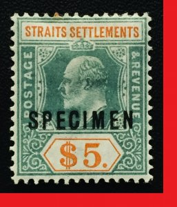 Malaya 1902 SPECIMEN opt Straits Settlements KEVII $5 MH Crown CA SG#121s M2474
