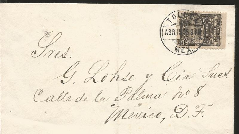 J) 1895 MEXICO, 10 MULITAS BLACK PRES. ONLY PIECE, AIRMAIL, CIRCULATED COVER, FR