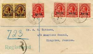 Turks & Caicos Is. 1d (4) and 3d (2) KGV Overprinted War Tax 1917 Turks Islan...