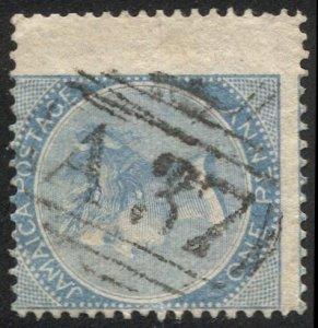 JAMAICA 1860 Scott 1  1d blue Wing Margin, VF,  A37 (Duncans) Numeral Cancel