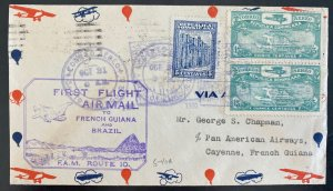 1930 Dominican Republic First Flight Airmail Cover FFC To Cayenne French Guiana