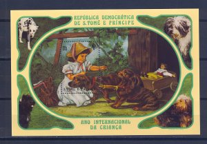 S.TOME E PRINCIPE SC# 636 GIRL WITH DOG S/S - PERF. MNH