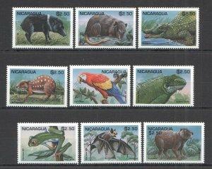A0618 1995 NICARAGUA FAUNA WILD ANIMALS REPTILES BIRDS SET MNH