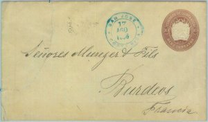 89587 - COSTA RICA - POSTAL HISTORY -  STATIONERY COVER  to FRANCE  1896