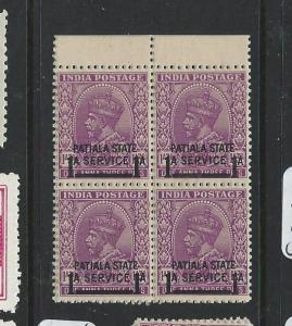 INDIA PATIALA (PP0603B) KGV ISSUED KGVI TIME SG O70 BL OF 4   MNH