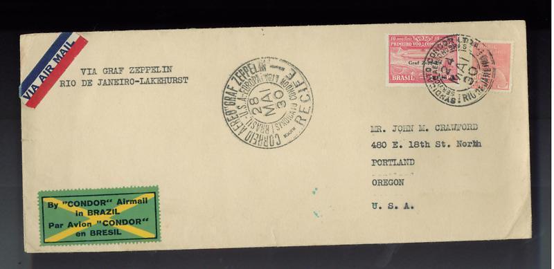 1930 Brazil Graf Zeppelin cover to USA Condor Stamp