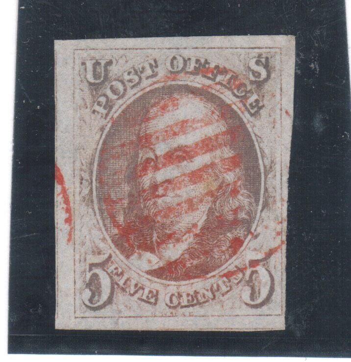 USA #1b Used With Huge Margins & Nice Red Grid Cancel - No Faults At All