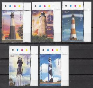 Gambia. Sc # 2857-2861 (1), MNH, 2004, Lighthouses