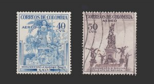 COLOMBIA AIRMAIL STAMP 1954. SCOTT # C245 - 46. USED